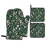 Juego de 4 Guantes y Porta ollas para Horno Resistentes al Calor Papel Pintado Floral Delicado de la Flor de la Acuarela para Hornear en la Cocina,microondas,Barbacoa