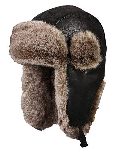 Insun Insun Unisex Wintermütze Fliegermütze Trappermütze mit Kunstleder Fellmütze Herren Russenmütze Schwarz 1 M (Hut Umfang:56cm)