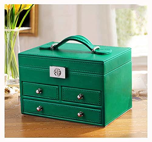 CHXISHOP Caja organizadora de joyas para mujer exquisita de cuero de gama alta caja de joyería de regalo de boda pequeña retro caja de almacenamiento de joyas con cerradura verde
