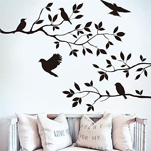Behang Boom Vogel Obliterable Muursticker Vinyl Art Decal Mural Base DIY Decor Boomtakken Vogel Muursticker Muurbehang behang pasta Zwart