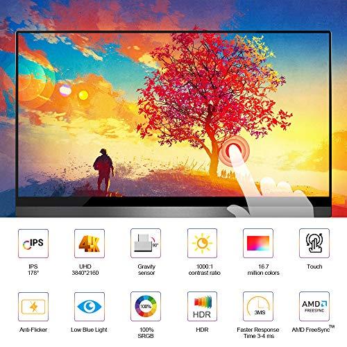4K Touchscreen Portable Monitor, UPERFECT 14 Zoll Tragbarer USB C Gaming Monitor 3840 x 2160 UHD Mobile Display mit Schwerkraftsensor Auto-Rotation Rahmenlos Bildschirm