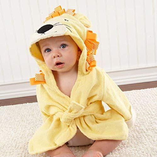 WSNBB 37 Designs mit Kapuze Tiermodell ing Baby-Bademantel/Karikatur-Baby-Spa Handtuch/Character Kinder Bademantel/Baby Strandtücher,gelber Löwe