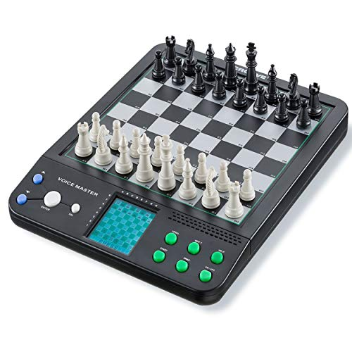IQ Toys Electronic Teacher Board Game, Interactive Voice Master Teaching 8 Games Including Chess, Checkers, and Reversi. Play Against the Computer or a Partner