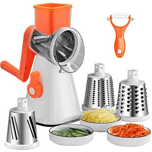 Käsereibe,3in1 Reibe für Gemüse mit 1 Schäler-Raspeln, Schneiden, Reiben,Trommelreibe | Gemüsereibe Edelstahl | Nussmühle | Reibemaschine | Mühle | Gemüseschneider Manuell