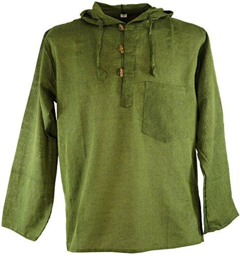 Guru-Shop Nepal Hemd, Goa Hippie Sweatshirt, Yogashirt, Herren, Olive, Baumwolle, Size:M, Hemden Alternative Bekleidung