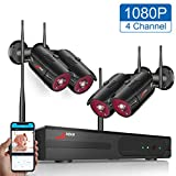 1080P Wireless Security Camera System Outdoor ANRAN 4 CH 1080P NVR Video Security System with 4pcs 1080P HD Night Vision Home Surveillance Cameras,Motion Alert Plug&Play, Remote View, NO Hard Drive