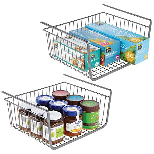 mDesign Juego de 2 estantes de cocina colgantes de metal inoxidable – Cestas metálicas grandes para cocina y despensa – Robusta cesta colgante para alimentos y utensilios de cocina – gris
