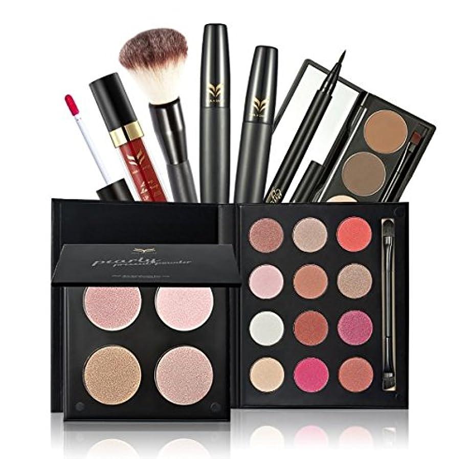 正確に兄弟愛吸収する7Pcs/set Huamianli Makeup Set 4 Colors Pressed Powder Eyeshadow Eyebrow Powder Blush Makeup Brush Cosmetic Kit