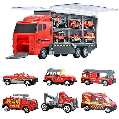 Juguetes de Construcción Juegos Vehículos de Aleación para Niños Juego Tractor Camión Volquete Excavadora Remolque Juguete Carro de 3 Años Conocer Coches Juguete Educativo (D)