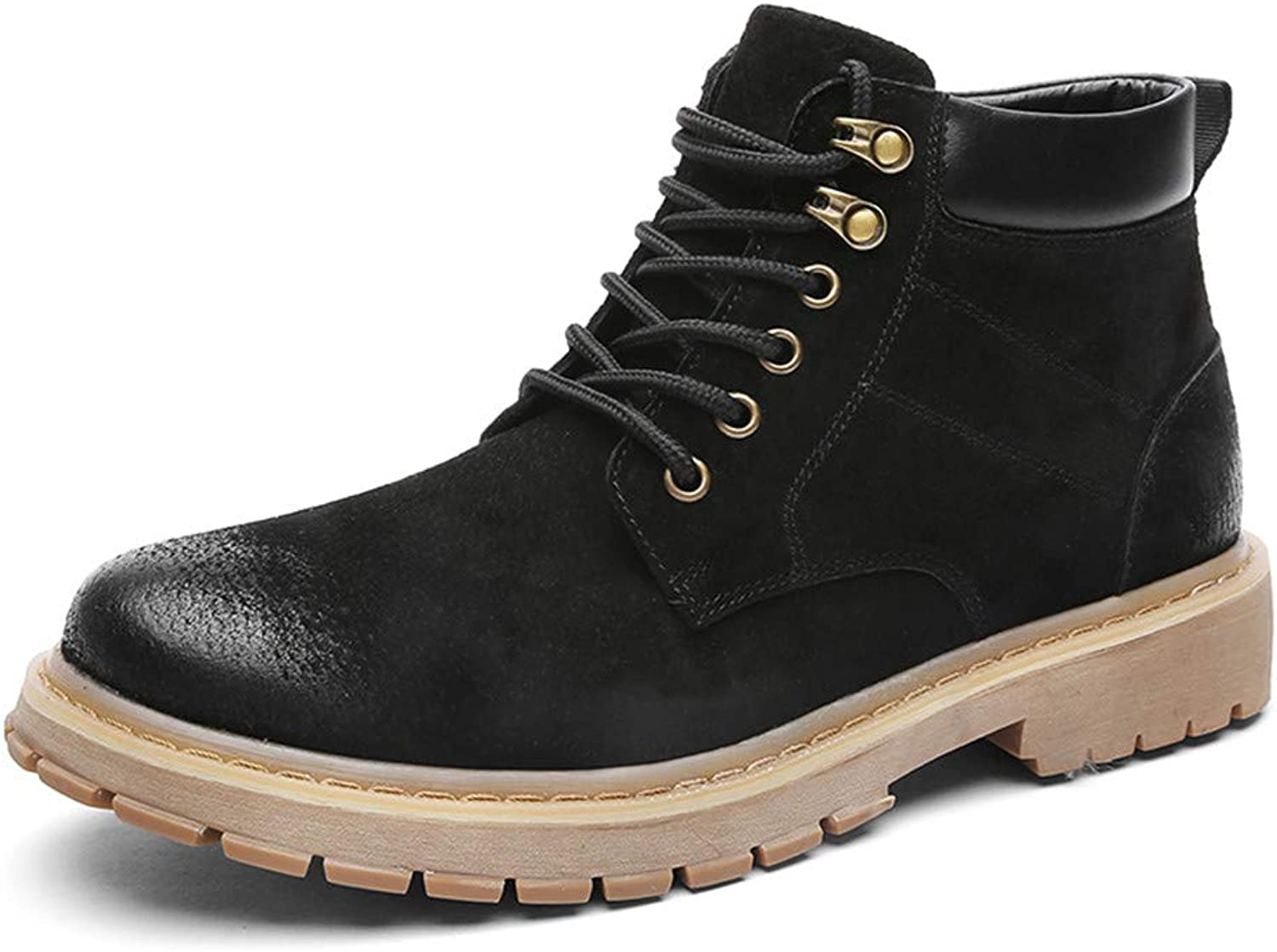 YAJIE-Boots, Men's Leisure Lace up Genuine leather Work Boots (color   Black, Size   7.5 UK)