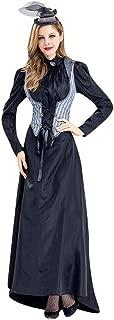 Goddessvan Women's Gothic Victorian Poplin Long Sleeve Hooded Halloween Lolita Witch Dress