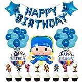 50PCS Pocoyo Decoraciones Para Fiesta,Globos de Cumpleaños,Decoracion Cumpleaños Infantil, Banner de Feliz cumpleaños Cake Toppers,Decoraciones para Fiesta De CumpleañOs
