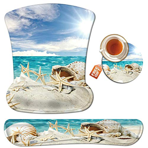 Wrist Rest for Computer Keyboard and Mouse Pad with Wrist Support Gel Seashells Beach Ergonomic Mousepad Memory Foam Comfortable Keyboard Pad Set Non-Slip Base Come with A Cute Coaster