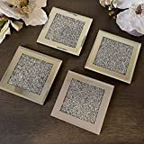 TrendyNow365 Crushed Diamond Coaster with Glass, Stunning Silver, Mirror Boarder (Set of 4)
