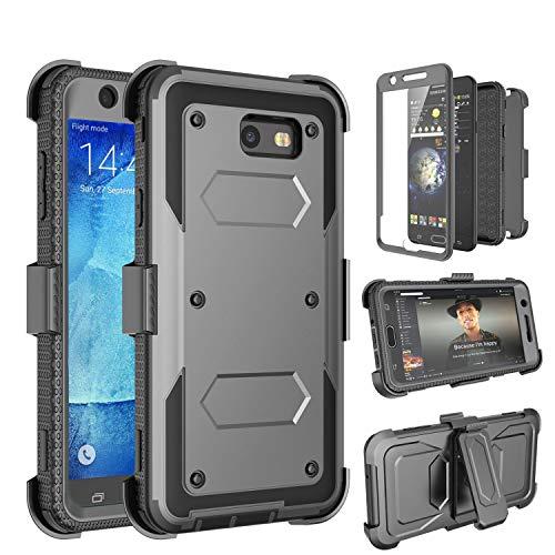 Tinysaturn Galaxy J7 2017 Case, J7 Prime Case, J7 Sky Pro Case, [Yvenus]Shockproof Belt Clip Holster Case with [Built-in Screen Protector] Kickstand Rugged for Samsung Galaxy J7 2017/J7 Perx/J7V,Gray