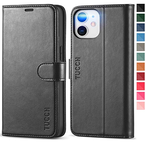 TUCCH Wallet Case for iPhone 12 Mini 5G, RFID Blocking Card Slot Stand [Shockproof TPU Interior Protect Case], PU Leather Magnetic Flip Folio Cover Compatible with iPhone 12 Mini 5.4-inch, Black