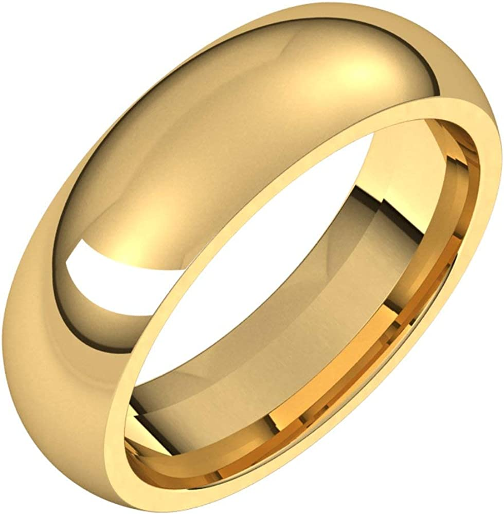 14k Yellow Gold 6mm Comfort Fit Bridal Wedding Band Ring, Size 13.5