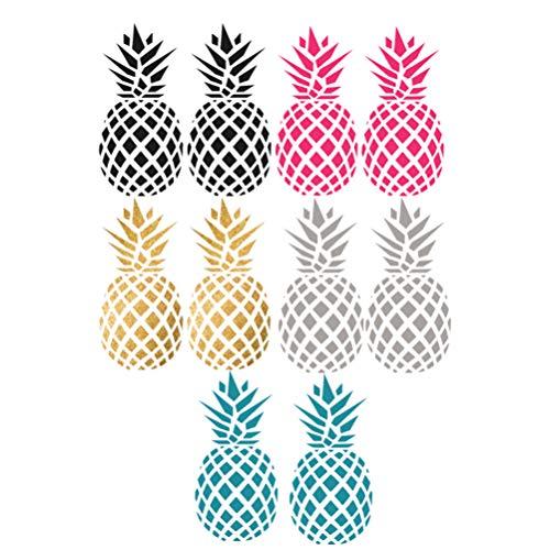BESPORTBLE 5 Paar Wandaufkleber Ananas Form Wandtattoo Dekorative Aufkleber Kinderzimmer Schlafzimmer zu Hause Wohnzimmer (Gold + Grau + Blau + Rosy + Schwarz)
