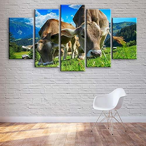 KOPASD 5 Piezas Ciudad de Noche de Arte de Pared impresión en Lienzo Pastoreo de Vacas Animal Arte Moderno para decoración del hogar