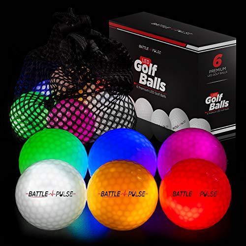 BattlePulse Glow Golf Balls with Mesh Bag   6 pcs Light Up Golf Balls   LED Light Glow Balls for Golfing   300-hr Lighting Time   Water Resistant Glow in The Dark Ball   3-Layer Design   Vivid Colors
