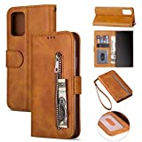 ZTOFERA Samsung A71 Hülle, Magnetisch Folio Flip Wallet Leder Standfunktion Reißverschluss schutzhülle mit Trageschlaufe, Brieftasche Hülle für Samsung Galaxy A71 - Braun