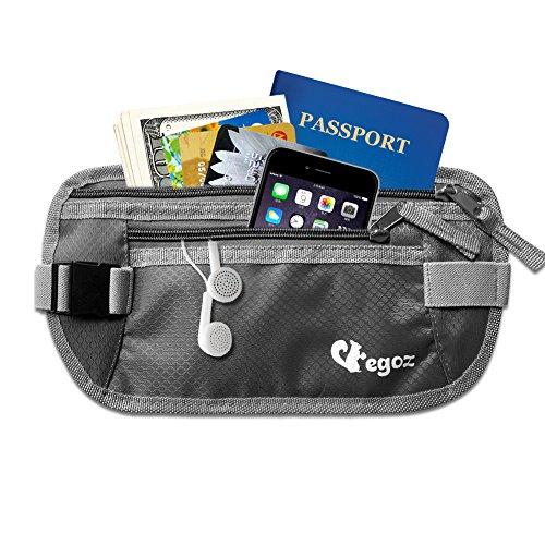 Cashew By Egoz Travel Gear Money Belt Pouch RFID Undercover Waterproof Security Hidden Secures Cash Cards Passport Adjustable Strap Side Clip Washable Light Slim Comfortable Delux(Grey)