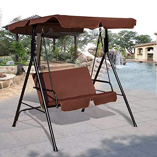 Wenhu Causeuse Patio Canopy Balançoire Planeur hamac Cushioned Cadre en Acier Banc Patio Balancez Meubles de Jardin,C