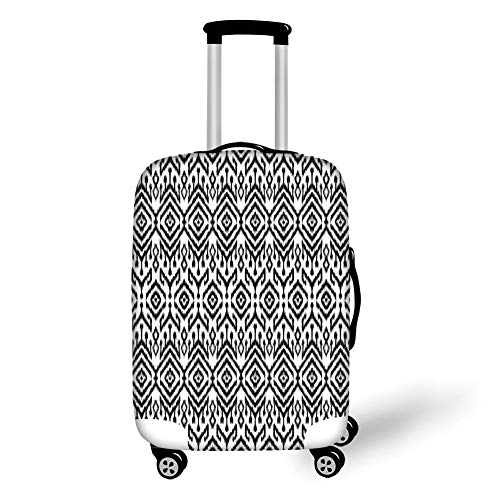 Travel Luggage Cover Suitcase Protector,Black and White,Monochrome Ikat Pattern Bohemian Ethnic Authentic Chevron Modern Scribble,Black White,for Travel,M