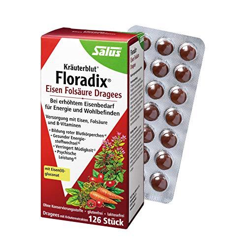 Salus Floradix Lot de 126 dragées d'acide folique en fer 70 g