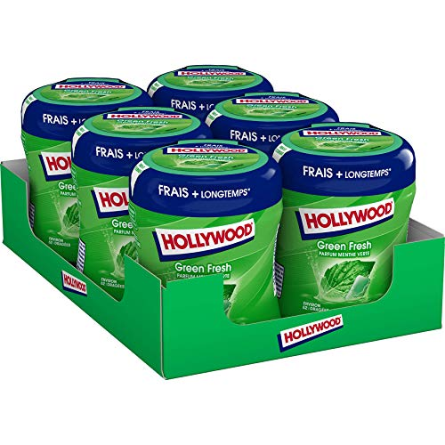 Hollywood Bottle Green Fresh s/sucres-Barquette de 6 bottles de 60 dragées