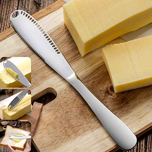 Stainless Steel Butter Spreader Knife, Multi-use for Kitchen Gadgets, Butter Curler, Peanut Spreader, Butter Roller, Scooper for Butter, Cheese, Peanut, Jam, Serrated Edge, Butter Knife Cold Butter