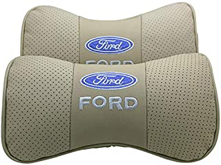 Wall Stickz Car Sales 2 PCS Genuine Leather Bone-Shaped Car Seat Pillow Beige Neck Rest Headrest Comfortable Cushion Pad with Logo Pattern Fit Ford Accessories