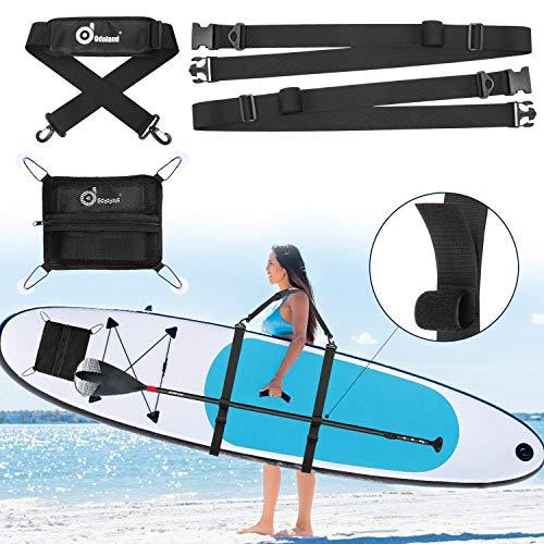 Odoland Correa de Transporte Sup Paddle Board con Bolsa Portátil, Arnés para Tablas de Surf, Tablas de Paddle, Tablas Largas y Kayaks, Correa de Hombro para Transporte Resistente y Ajustable