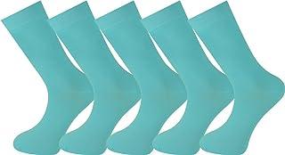 Mysocks, para hombres y mujeres Paquete de 5 pares de calcetines de color liso peinados de algodón agua azul