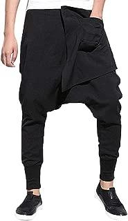 Men's Haren Pants, Fashion Casual Loose Solid Plus Size Slim Fit Leisure Hip-hop Trousers Pencil Pant with Pockets