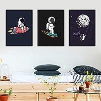 写真北欧ポスター現代漫画宇宙宇宙飛行士絵画装飾絵画ホームリビングルームダイニングルーム50x70cmフレームなし
