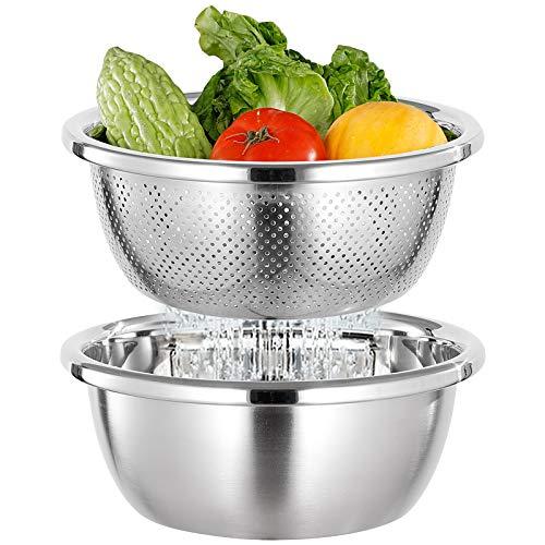 FAB4HOME Edelstahl Schüsselset Edelstahl Sieb und Rührschüssel Set, Seiher, Küchensieb, Nudelsieb, Reis Waschschüssel, Salat-Sieb Schüsselset, Stapelbar Salatschüsseln Set- 26cm