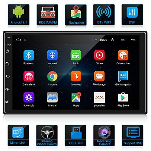 ANKEWAY 2021 Nuevo 2 DIN Android 9,1 DSP+RDS+FM Radio del Coche Navegación GPS 7 Pulgadas 1080P HD Pantalla Táctil +WiFi Internet Multimedia+Bluetooth Manos Libres+Micrófono+Cámara de marcha atrás