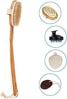 Dry Brushing Body Brush Set, Natural Exfoliating Body Brush & Body Massage Brush, Hair Scalp Massager Shampoo Brush, Loofah Sponge Pads, Pumice Stone, Great Gift for Glowing More Youthful Skin