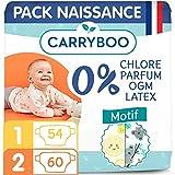 Carryboo – Pañales ecológicos, talla 1 y 2 (2-6 kg), hipoalergénicos, sin perfume, fabricados en Francia, 114 pañales