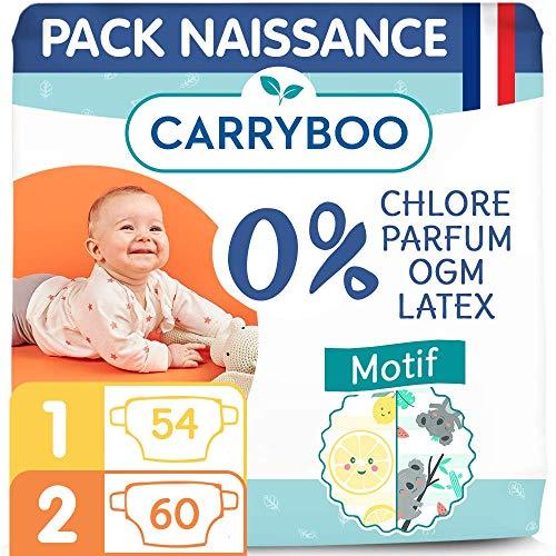 Carryboo – 114 Couches Ecologiques Nourrisson Taille 1&2 (2-6 kg) - Indicateur d'Humidité, Hypoallergéniques, Sans Parfum - Fabriquées en France - Pack Naissance 1 mois