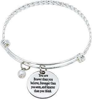 O.RIYA You are Braver Than You Believe Bracelet Stainless Steel Adjustable Bangle Bracelets for Women