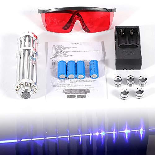 Gdrasuya High Power Light Blue Beam Light 5 Head Recharger 5mW Beam Burn Light Tool Burn Light Complete Battery Charger Goggles Set