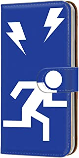 ケース 手帳型 カードタイプ HUAWEI P20 Pro (HW-01K) [非常口・ブルー] パロディ 標識 Exit ピートゥエンティプロ スマホケース 携帯カバー [FFANY] exit-146@04c