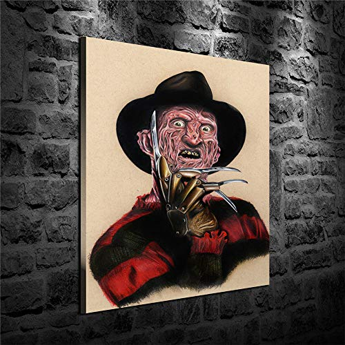 Artwcm Freddy Krueger Oil Paintings Modern Canvas Prints Artwork Printed on Canvas Wall Art for Home Office Decorations-729 (Framed,12x16inch)