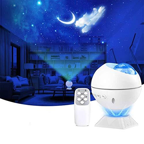 HOOJUEAN Lámpara LED Proyector Estrellado, Proyector de Luz para Galaxia, 120° Rotación Lampara con Control Remoto, Romántica luz de la Noche(Sin Bluetooth), para Dormitorio, Cine en Casa
