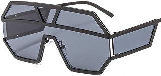 TYJYY Sunglasses Lunettes de soleil pour femme Design de la marque Motif géométrique en métal Lunettes de soleil de grande...