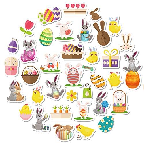 LIHAO 8 Feuilles Gommettes Pâques Autocollants Stickers Motifs Œuf de de Pâques Lapin Poulet pour Décoration de Pâques DIY Enfants