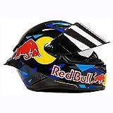 QXFJ Casco Moto Casco Integral Dot/ECE Homologado Casco De Moto Integral Red Bull para Mujer Hombre Adultos Protección para Carreras Al Aire Libre Protección Solar Gorras
