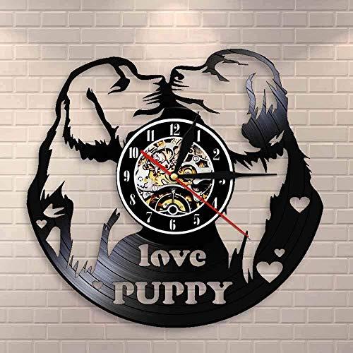 XYVXJ Love Puppy Pug Kissing Wall Clock Dog House Decoraciones Dog Lover Retro Vinyl Record Reloj de Pared Perro Raza Reloj Reloj de Pared